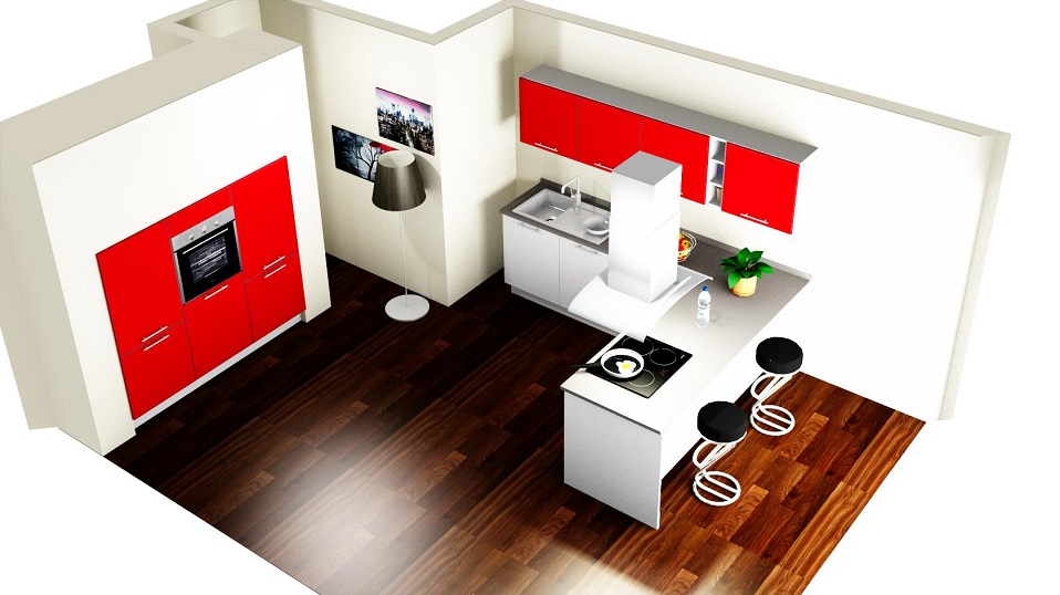 magasfényű piros u alakú konyhabútor