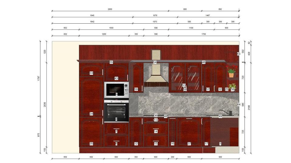 bordó u alakú egyedi konyhabútor