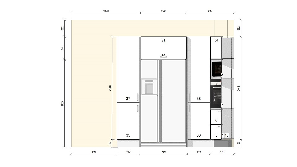 fehér u alakú egyedi konyhabútor