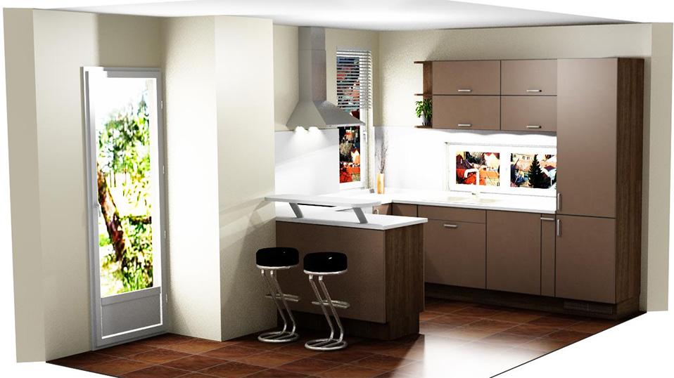 modern u alakú cappuccino barna konyhabútor